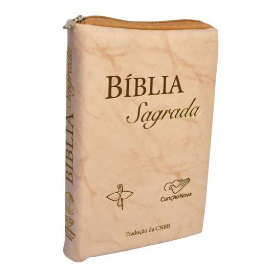 Bíblia Sagrada CNBB com zipper bege