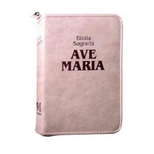 LV BIBLIA AVE MARIA CAPA ROSA COM ZIPER